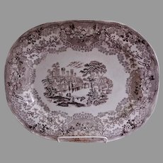 """Clyde Pottery Co. Brown Transferware """"British Rivers"""" Pattern Oval Platter"""