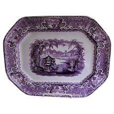 "Podmore, Walker & Co.  Mulberry Transferware ""Washington Vase"" Pattern Platter"