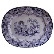 "Francis Morley & Co. Black Transferware ""Cleopatra"" Pattern Oval Platter"
