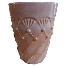 "Greentown Indiana Tumbler & Goblet Co. Chocolate Glass ""Cord Drapery"" Pattern Tumbler"