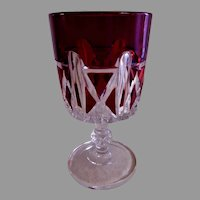"EAPG ""Triple Triangle"" Pattern Ruby Stain Goblet - Doyle & Co."