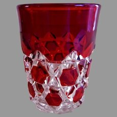 "EAPG ""Block"" Pattern Ruby Stain Tumbler - Various Makers"