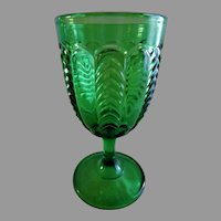 "EAPG ""Florida"" a.k.a. ""Paneled Herringbone"" Pattern Emerald Green Goblet - U. S. Glass Co."
