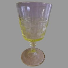 "EAPG ""Basketweave"" Pattern Vaseline/Canary Yellow Goblet - Various Makers"