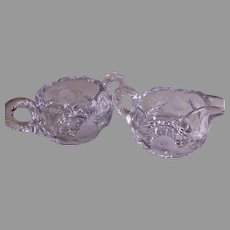 """Hawkes Gravic"" Cut Glass ""Strawberry"" Pattern Cream & Sugar Set"