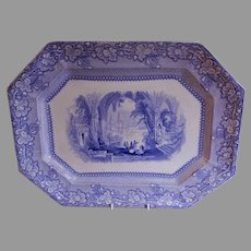"E Challinor Blue Transferware ""Ancona"" Pattern Platter"