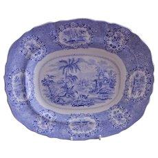 "William Ridgway Blue Transfer-ware ""Oriental"" Pattern Platter"