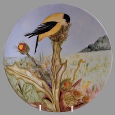 Jean Pouyat (JPL) Limoges Hand Painted Cabinet Plate w/American Goldfinch - Artist Signed