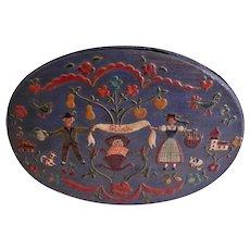 Austrian Hartmann Tirol Folk Art Hand Painted Bentwood Oval Box