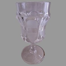 "EAPG - George Duncan & Sons - Set of 6 Goblets - ""Barred Ovals"" Pattern - Clear w/Frosting"