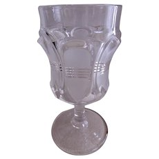 """EAPG - George Duncan & Sons - Set of 6 Goblets - """"Barred Ovals"""" Pattern - Clear w/Frosting"""