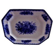 """Brougham & Mayer Flow Blue Ironstone """"Flora"""" Pattern Platter"""