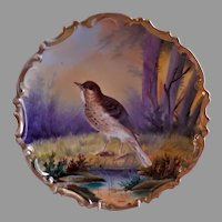 """Lazarus Straus & Sons Hand Painted """"Wood Thrush"""" Charger Game Plate"""