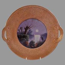J H Stouffer Studio Gold Encrusted H.P. Plate w/Everglades & Crane Scenic Motif