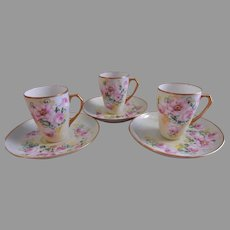 France Studio Chicago Set of 3 H.P. Hot Chocolate Cups & Saucers w/Wild Roses Motif
