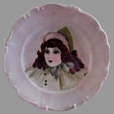 Johann Haviland Hand Painted Portrait Plate - Beautiful Brunette Young Lady