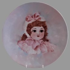 Bareuther Hand Painted Portrait Plate - Beautiful Light Brunette Young Lady