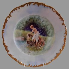 T&V Limoges Transfer/H.P. Cabinet Plate - Partial Nude in Meadow Setting - Artist Signed