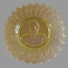 "EAPG - Canary/Vaseline ""U S Grant"" Plate - Gillinder & Sons"