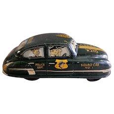 "Louis Marx Tin Litho Friction Drive ""Dick Tracy Squad Car No 1"" Circa 1950's"
