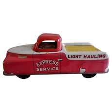 """Courtland Toy Company, Tin Litho & Plastic, Wind-up """"Express Service Truck"""" Circa Early 1950's"""