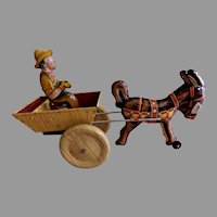"""Louis Marx Tin Litho Wind-Up """"Hee Haw Balky Mule"""" Circa 1948"""