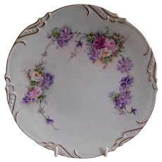 Porcelain Contemporary Hand Painted Cabinet Plate w/Tea Roses & Pansies Motif - Artist Signed