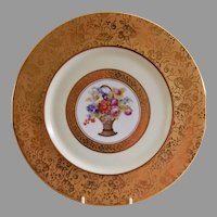 Stouffer Studio Gold Encrusted & Floral Decorated Pair of Charger Plates