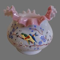 Ruffled Cased Art Glass Vase w/ Enameled Floral and Bird Motif
