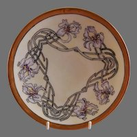 """Arts & Crafts - Germany - Hand Painted """"Iris"""" Floral Motif Cabinet Plate"""