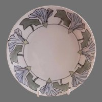 """Arts & Crafts - Germany - Hand Painted """"Morning Glory"""" Floral Motif Cabinet Plate"""