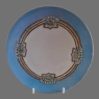 """Arts & Crafts - Germany - Hand Painted """"Lotus"""" Floral Motif Cabinet Plate"""