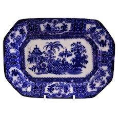 """W Adams & Co Ironstone Flow Blue Transferware """"Kyber"""" Pattern Eight-Point Platter"""
