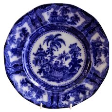 """W Adams & Co Ironstone Flow Blue Transferware """"Kyber"""" Pattern Ten Sided (Decagon) Luncheon Plate"""