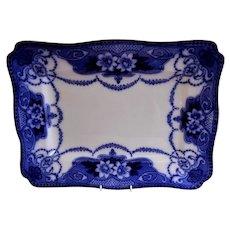 """Ford & Sons, England, Flow Blue Porcelain """"Douglas"""" Pattern Serving Platter"""