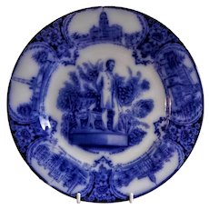 "Wedgwood & Co (Ltd) Flow Blue Transfer-ware ""Abraham Lincoln"" Illinois Souvenir Plate"