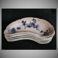 """Set of 6 -  Alfred Meakin Blue transfer """"Clifton"""" Bone Dishes"""