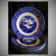"Set of 7 Johnson Bros Blue Flow ""Mongolia"" Pattern Luncheon Plates"