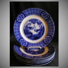 "Set of 7 Johnson Bros Blue Flow ""Mongolia"" Pattern Luncheon Plates"