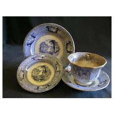 "J. Clementson Ironstone Blue Transferware ""Siam"" Pattern - 3 Pieces, Plus Mismatched Cup"