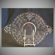 "Fostoria Etched ""Navarre"" Oval Handled Cake Plate"