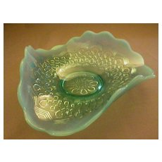 "Jefferson Glass ""Many Loops"" Pattern Blue Opalescent Novelty Bowl"