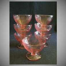 """Set of 7 - Jeannette """"Floral"""" or """"Poinsettia"""" Pink Sherbets"""