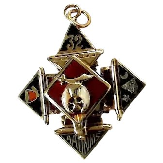 14K White & Yellow Gold 32nd Degree Masonic Puzzle Pendant