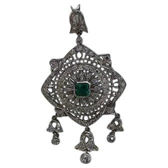 14K White Gold, Diamond and Emerald Chandelier Pendant