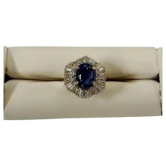 14K Yellow Gold  Blue Sapphire Oval Cabochon & Diamond Ring