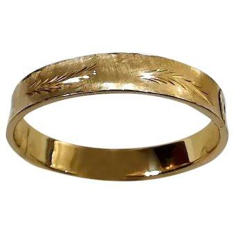 14K Yellow Gold Etched Hinged Bangle Bracelet- Circa 1970's