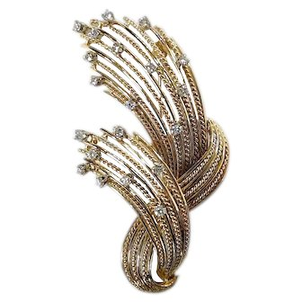 1960's Gold & Diamond Wheat Pin