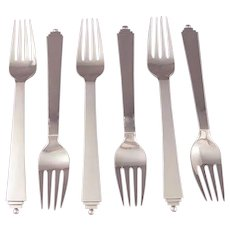 Six Georg Jensen Pyramid Dinner Forks