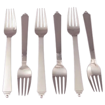 Six Georg Jensen Pyramid Dinner Forks